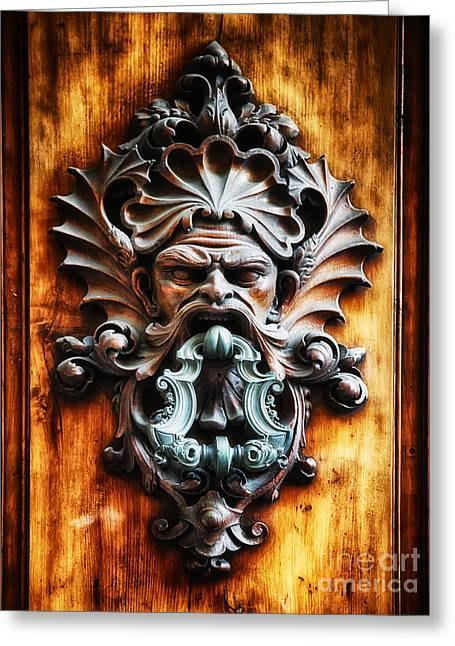 Angry Face Greeting Cards - Angry Man Face Door Knocker Greeting Card by George Oze