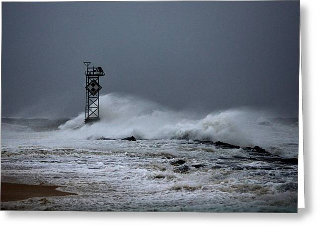 Ocean Art Photography Greeting Cards - Angry Ocean in Ocean City Greeting Card by Bill Swartwout