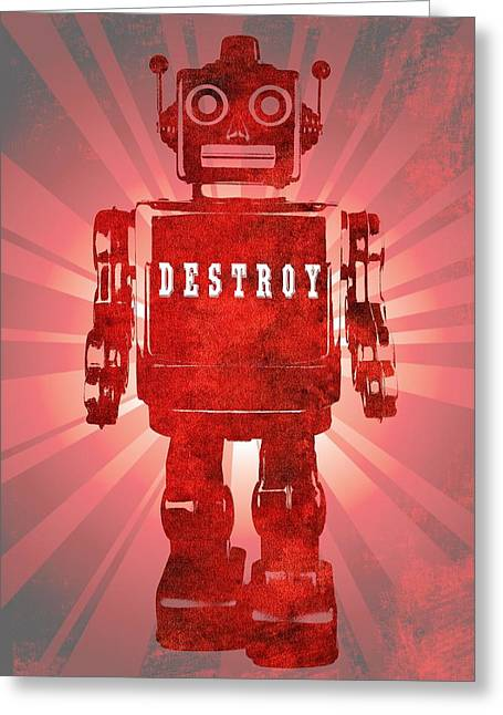 Programming Greeting Cards - Angry Robot Greeting Card by Dan Sproul