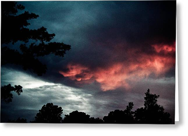Single-celled Greeting Cards - Angry Sky Greeting Card by Jessica Brown