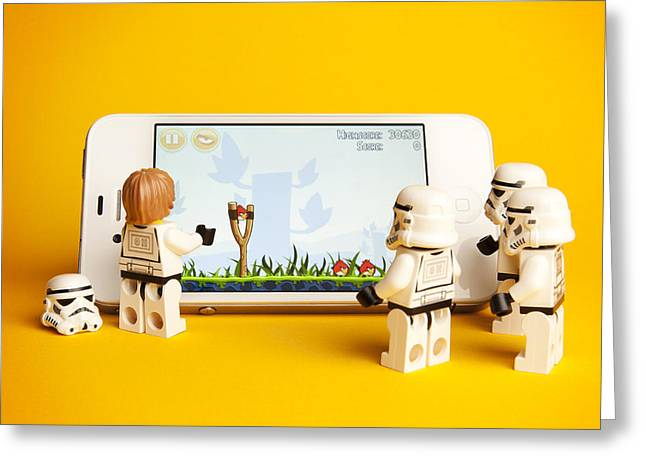 Lego Greeting Cards - Angry Birds Storm Troopers Greeting Card by Samuel Whitton