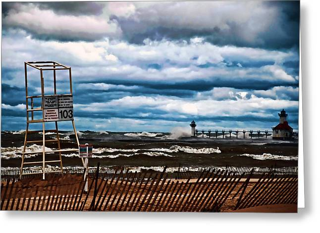 Port St Joseph Greeting Cards - Angry Waves Greeting Card by Rick Jackson