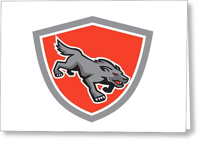 Growling Digital Greeting Cards - Angry Wolf Wild Dog Stalking Shield Retro Greeting Card by Aloysius Patrimonio