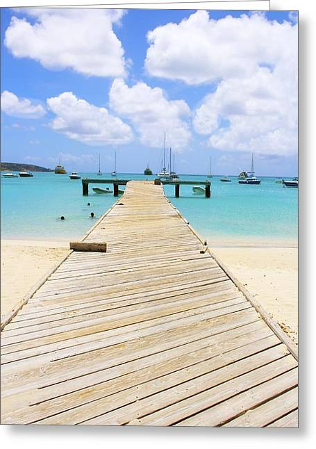 Paradise Pier Attraction Greeting Cards - Anguilla fishing pier Greeting Card by Jennifer Lamanca Kaufman