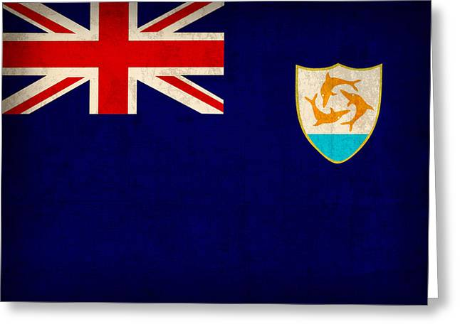 Anguilla Flag Vintage Distressed Finish Greeting Card by Design Turnpike