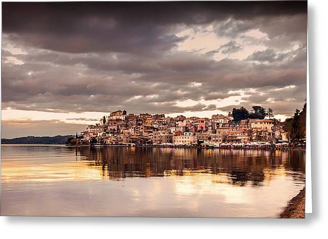 Italian Sunset Greeting Cards - Anguillara Sabrazia Seaside Greeting Card by Massimiliano Oliva