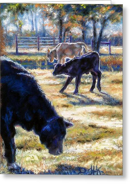 Barn Yard Pastels Greeting Cards - Angus Calves out with Dad Greeting Card by Denise Horne-Kaplan