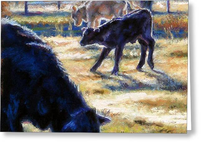 Angus Calves out with Dad Greeting Card by Denise Horne-Kaplan