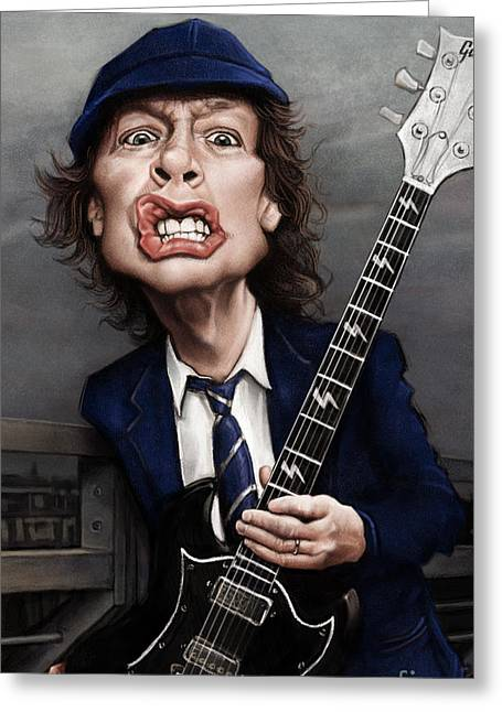 Angus Young Greeting Card by Andre Koekemoer
