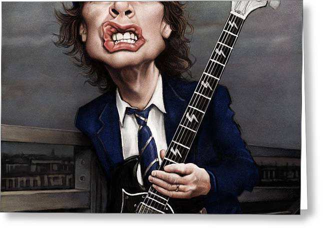 Photoshop Greeting Cards - Angus Young Greeting Card by Andre Koekemoer