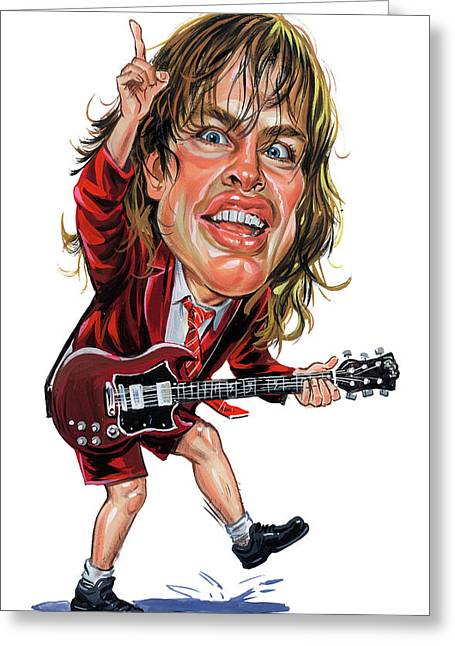 Angus Young Greeting Cards - Angus Young Greeting Card by Art