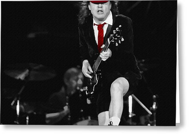 Young Michael Jackson Greeting Cards - Angus Young Greeting Card by Don Kuing
