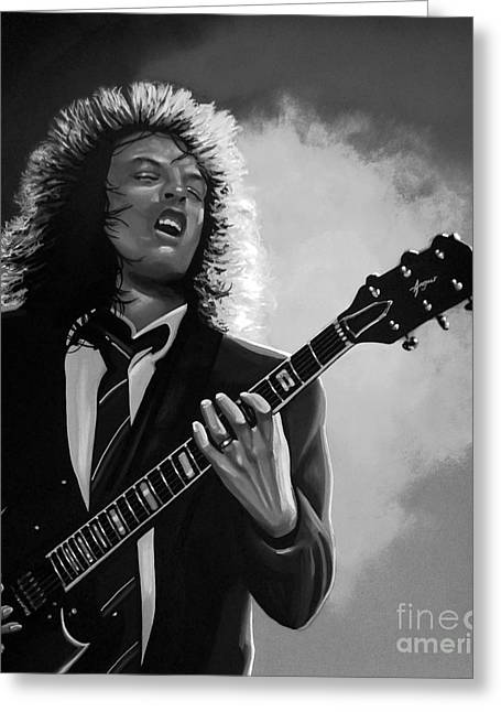 Bon Scott Greeting Cards - Angus Young Greeting Card by Meijering Manupix