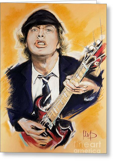 Angus Greeting Cards - Angus Young Greeting Card by Melanie D