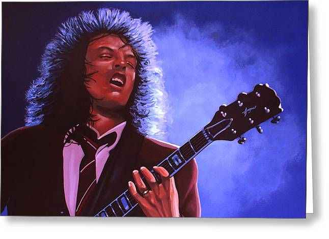 Angus Young Of Ac / Dc Greeting Card by Paul Meijering