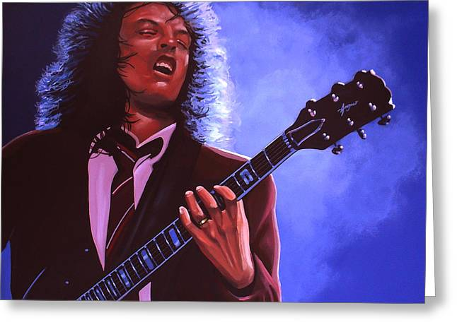Black Man Paintings Greeting Cards - Angus Young of AC / DC Greeting Card by Paul Meijering