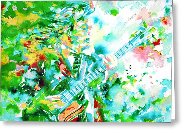 Acdc Greeting Cards - ANGUS YOUNG playing the GUITAR - watercolor portrait Greeting Card by Fabrizio Cassetta