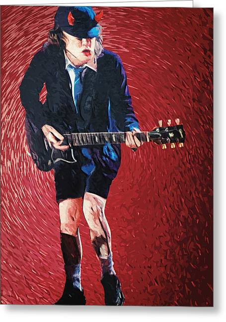 Angus Young Greeting Cards - Angus Young Greeting Card by Taylan Soyturk