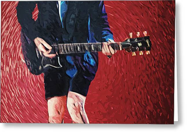 Angus Young Greeting Card by Taylan Soyturk