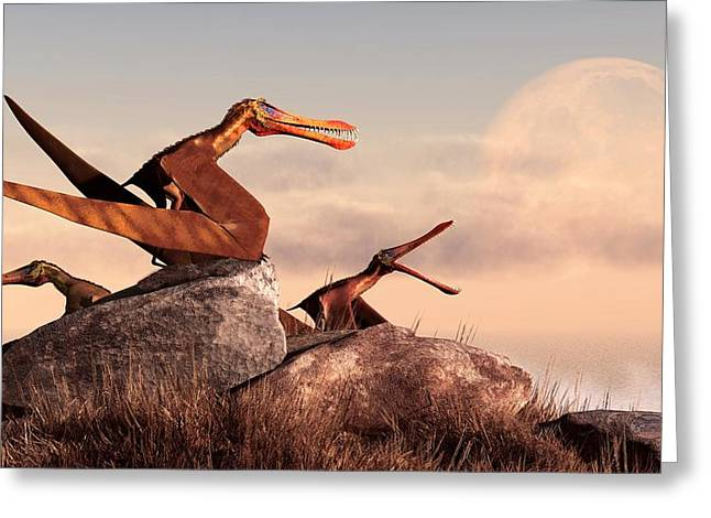 Triassic Greeting Cards - Anhanguera Greeting Card by Daniel Eskridge