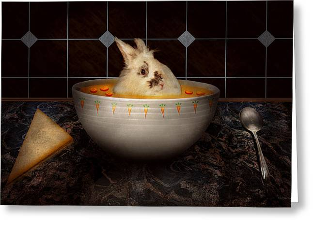Stew Greeting Cards - Animal - Bunny - Theres a hare in my soup Greeting Card by Mike Savad