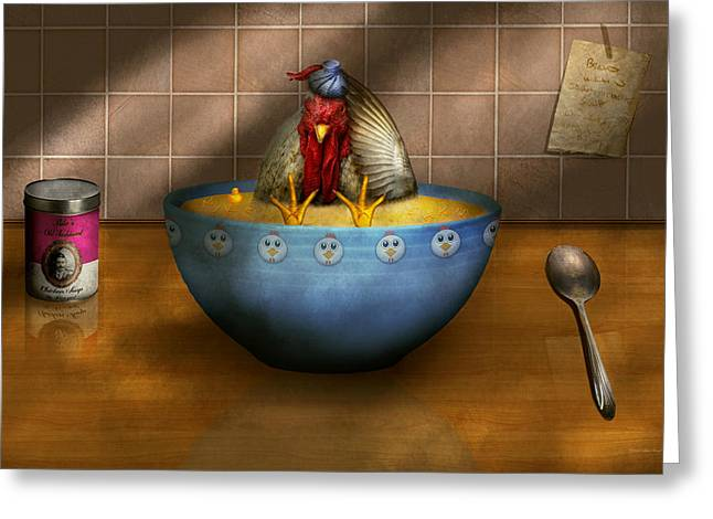 Healthy Greeting Cards - Animal - Chicken - Chicken Soup Greeting Card by Mike Savad