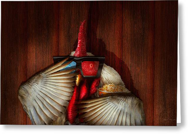 Animal - Chicken - Movie Night  Greeting Card by Mike Savad