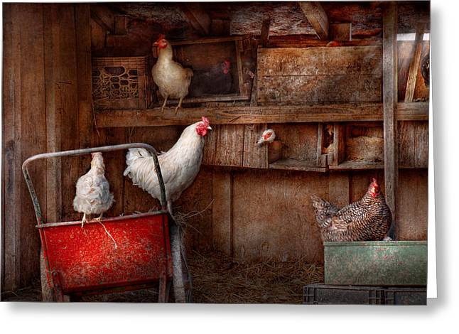 Hdr Look Greeting Cards - Animal - Chicken - The duck is a spy  Greeting Card by Mike Savad