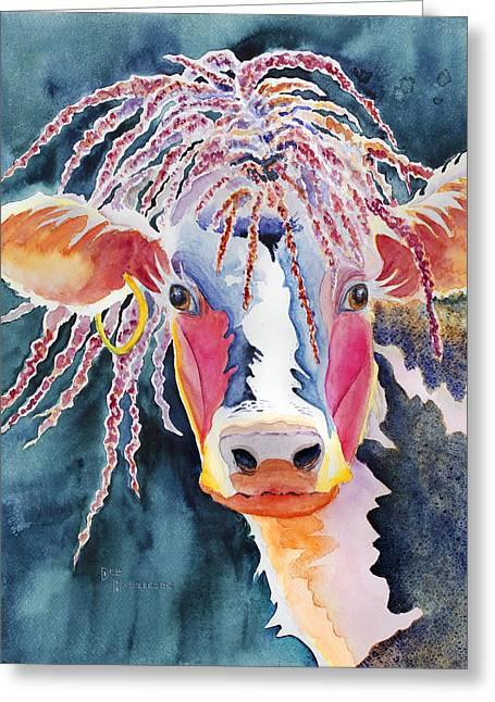 Award Winning Art Greeting Cards - Animal - Cow - Cowabonga Greeting Card by Deb  Harclerode