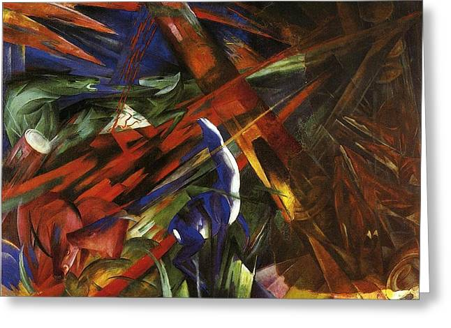 Destiny Paintings Greeting Cards - Animal Destinies Greeting Card by Franz Marc