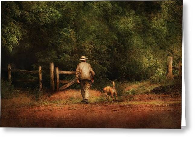 Dog Walker Greeting Cards - Animal - Dog - A man and his best friend Greeting Card by Mike Savad