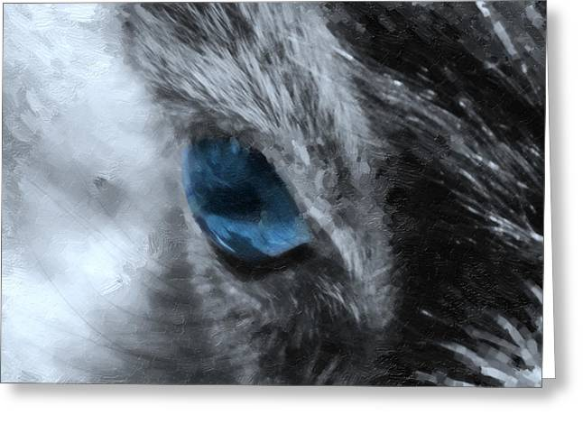 Vertebrate Mixed Media Greeting Cards - Animal Eye in blue Greeting Card by Toppart Sweden