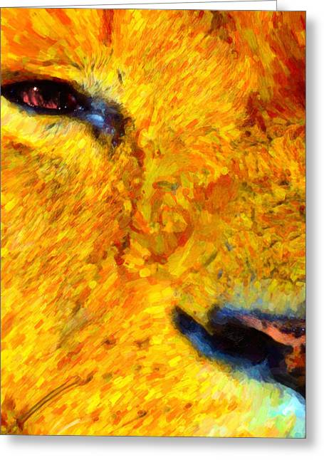 Vertebrate Mixed Media Greeting Cards - Animal Eye lion Greeting Card by Toppart Sweden