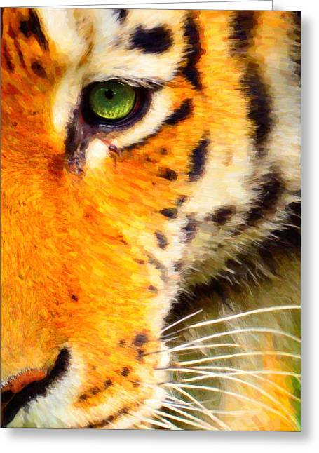 Many Mixed Media Greeting Cards - Animal Eye Tiger Greeting Card by Toppart Sweden