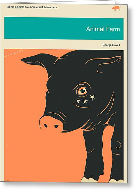 Book Cover Art Greeting Cards - Animal Farm Greeting Card by Jazzberry Blue