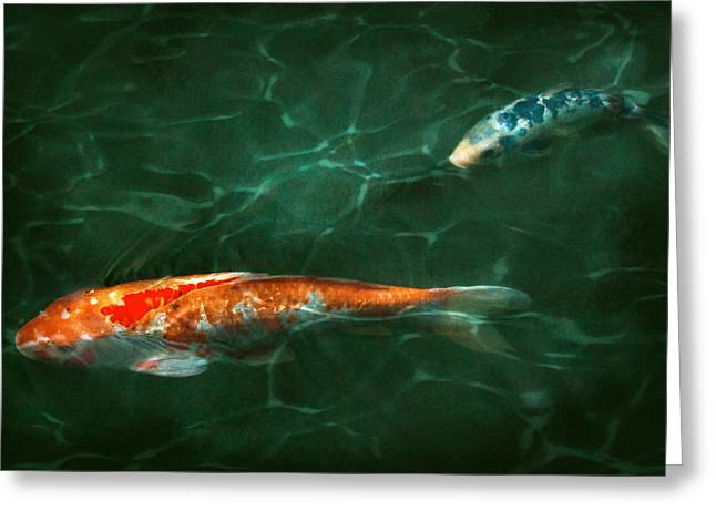 Animal - Fish - Koi - Another fish story Greeting Card by Mike Savad
