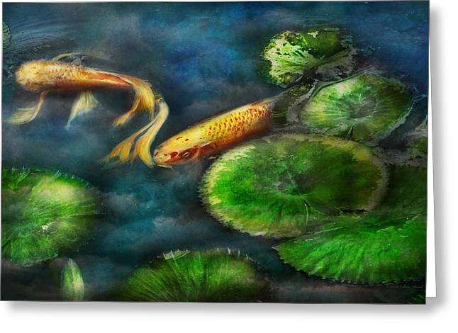 Fed Greeting Cards - Animal - Fish - The shy fish  Greeting Card by Mike Savad