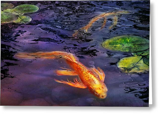 Kingyo Greeting Cards - Animal - Fish - Theres something about koi  Greeting Card by Mike Savad