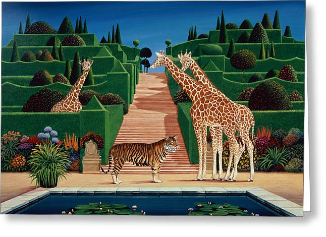 Formal Greeting Cards - Animal Garden, 1980 Acrylic On Board Greeting Card by Anthony Southcombe