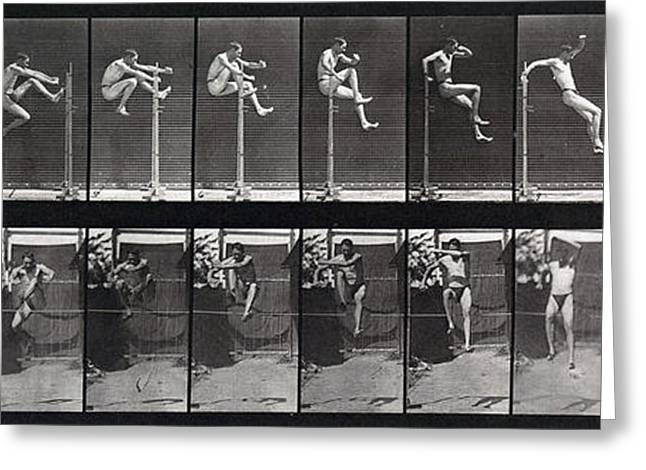 Historical Pictures Greeting Cards - Animal Locomotion of Man Jumping Hurdle Greeting Card by MMA Philadelphia Commercial Museum