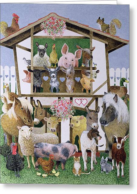 C20th Greeting Cards - Animal Playhouse Oil On Canvas Greeting Card by Pat Scott