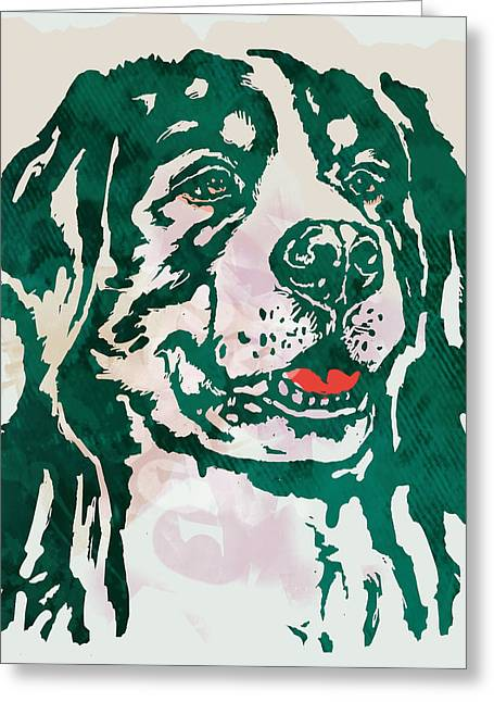 Animal Pop Art Etching Poster - Dog - 1 Greeting Card by Kim Wang