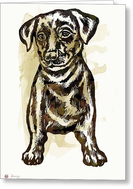 Carnivorous Mixed Media Greeting Cards - Animal pop art etching poster - Dog - 2 Greeting Card by Kim Wang