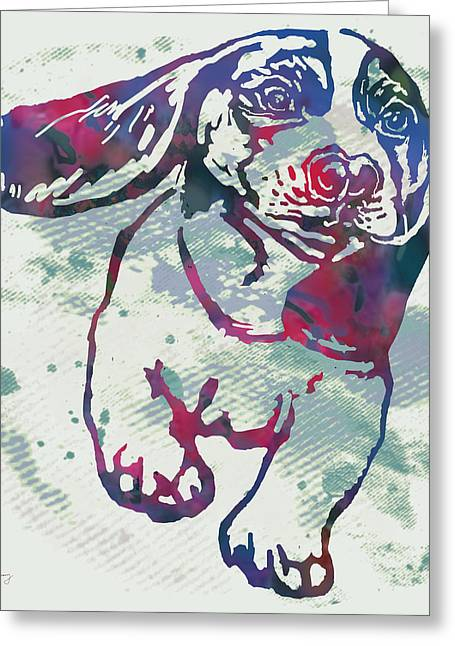 Mans Best Friend. Greeting Cards - Animal Pop Art Etching Poster - Dog - 6 Greeting Card by Kim Wang