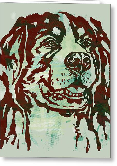 Dog Portrait Mixed Media Greeting Cards - Animal pop art etching poster - Dog Greeting Card by Kim Wang