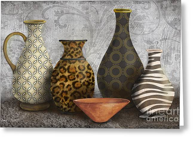 Pottery Pitcher Paintings Greeting Cards - Animal Print Vase Still Life-A Greeting Card by Jean Plout