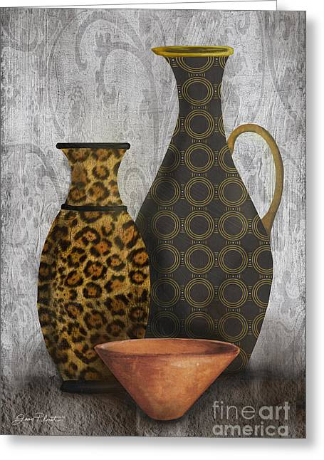 Vine Leaves Greeting Cards - Animal Print Vase Still Life-B Greeting Card by Jean Plout