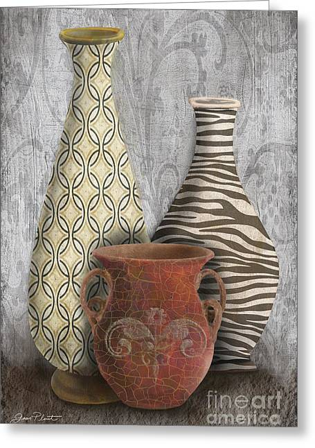 Pottery Pitcher Paintings Greeting Cards - Animal Print Vase Still Life-C Greeting Card by Jean Plout