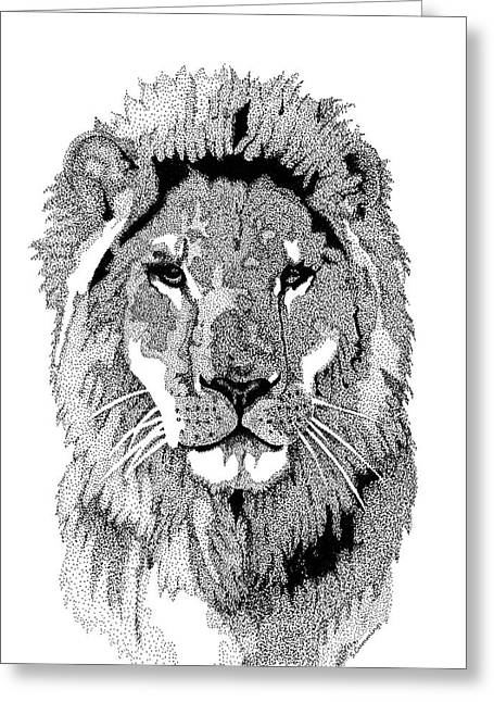 Stipple Greeting Cards - Animal Prints - Proud Lion - By Sharon Cummings Greeting Card by Sharon Cummings