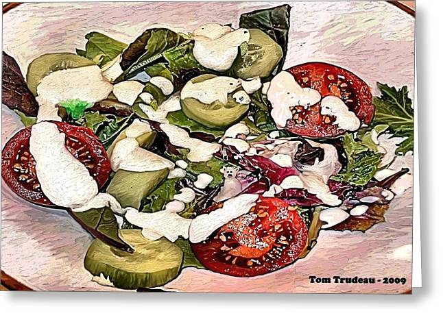 Lettuce Mixed Media Greeting Cards - Animal Salad Greeting Card by Tommi Trudeau